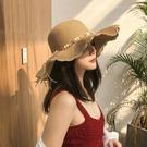 遮阳帽 帽子女韓版學生新款草帽太陽遮陽帽防曬防紫外線夏季涼帽女士圓臉