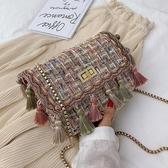 洋氣民族包包女 時尚毛呢編織百搭鏈條單肩斜挎小方包 週年慶降價