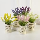 新年大促鄉村創意斜壺仿真植物盆栽盆景擺設樣板房家居綠植植物裝飾品 森活雜貨