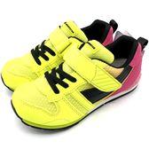 《7+1童鞋》日本月星 MOONSTAR 魔鬼氈  透氣  機能  運動鞋  C460  黃色