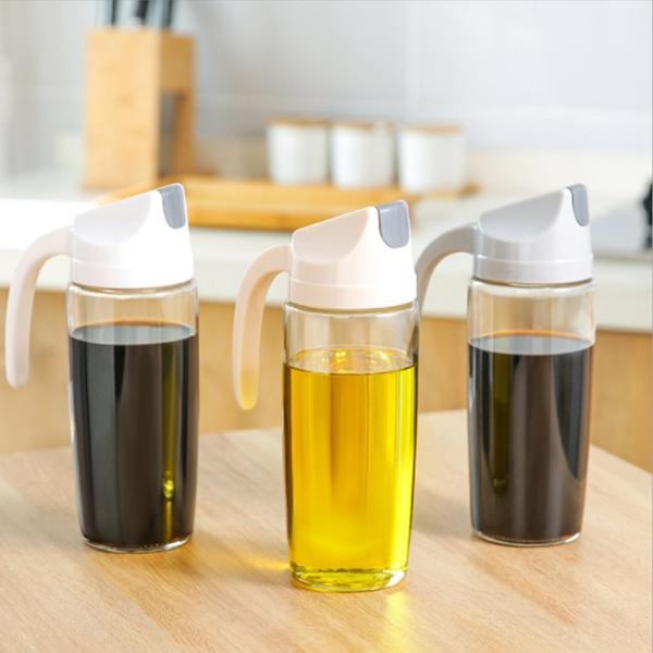 玻璃油壺 家用防漏油瓶 自動開合帶蓋調味瓶【庫奇小舖】630ml 不挑色