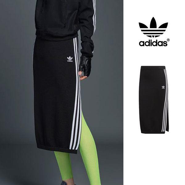 【GT】Adidas Originals 黑 長裙 女款 運動 休閒 彈性 針織 開岔 裙子 窄裙 及膝裙 愛迪達 三葉草 DP8588