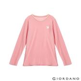 【GIORDANO】女裝Natural刺繡長袖圓領T恤 - 09 玫瑰粉