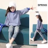2018秋裝新款女童大學T中大童韓版條紋長袖上衣兒童洋氣寬鬆套頭衫