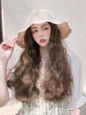 假髮帽漁夫假髮帽子一體時尚女夏天帶帽長卷髮網紅款百搭遮陽防曬韓版潮 萊俐亞