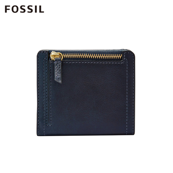 FOSSIL LOGAN 海軍藍真皮拉鍊RFID短夾 SL7829406