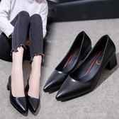 2019春新款高跟鞋女中跟韓版尖頭淺口女士灰色百搭單鞋工作鞋one shoes