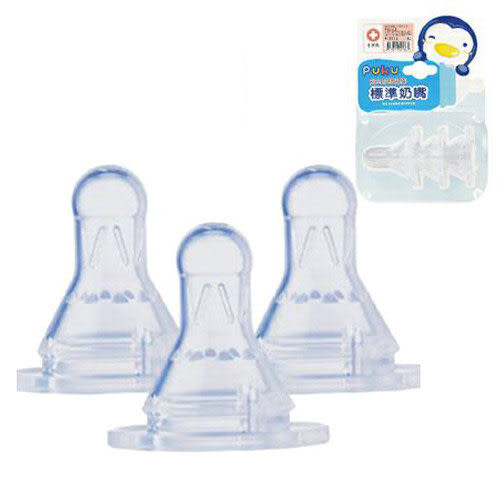 【奇買親子購物網】PUKU 安全矽膠十字/圓孔奶嘴(3入)