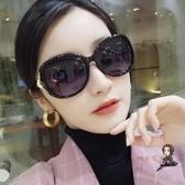 太陽鏡 新款狐貍頭偏光女韓版潮大框鑲鑽墨鏡防紫外線開車墨鏡 4色 交換禮物