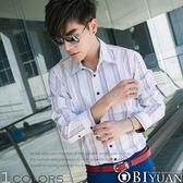 襯衫【B894】OBI YUAN韓版絲質感雅痞直條紋長袖襯衫 出清不退換