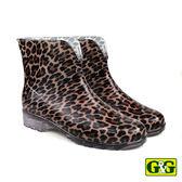 【G&G】時尚豹紋短筒雨靴 (99005-B/R)