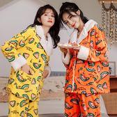 珊瑚絨睡衣女秋冬季加絨加厚韓版印花大碼法蘭絨開衫家居服兩件套-ifashion