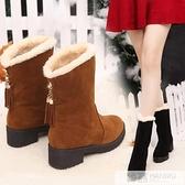 韓版平底坡跟短靴春秋絨面學生單靴內增高中筒流蘇靴冬季棉靴女鞋 牛轉好運到
