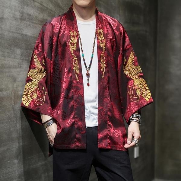 促銷 秋季中國風刺繡風衣漢服男古風披風開衫道袍中式民族風薄款外套潮