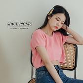 針織 短袖 Space Picnic|圓領針織短上衣-6色(現貨)【C21073005】