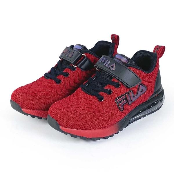 《FILA》兒童 氣墊慢跑鞋 紅黑 3-J406V-220