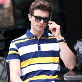衣服男2018新款夏季短袖T恤男士條紋翻領體恤休閒潮男Polo衫   八折免運 最後一天