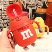 寶寶吸管杯可愛雙層隔熱玻璃杯學生兒童創意水杯幼兒園帶手柄水壺『韓女王』
