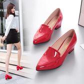 單鞋女中跟英倫風小皮鞋韓版百搭高跟鞋粗跟尖頭工作女鞋 格蘭小舖