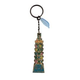 【收藏天地】台灣紀念品*木質鑰匙圈-台北大樓彩色