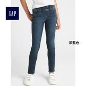 Gap女童 基本款深色水洗鬆緊腰彈力緊身牛仔褲 349416-深藍色