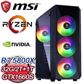 【南紡購物中心】微星系列【密斯特拉風】AMD R7 5800X八核 GTX1660S 電競電腦(32G/1T SSD/2T)