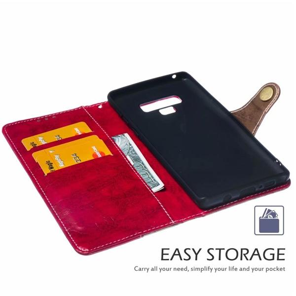 三星 Note9 四切割皮套 手機皮套 插卡 支架 磁吸 掛繩 撞色 皮套