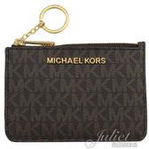 茱麗葉精品【全新現貨】MICHAEL KORS Jet Set Travel 證件夾鑰匙圈零錢包.深咖