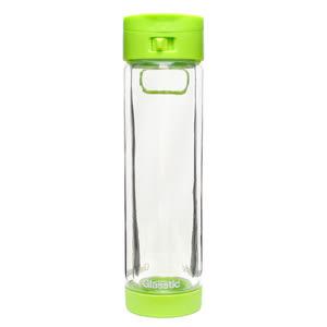 【特價再送圖卡】Glasstic安全防護玻璃水瓶470 ml 經典小LO款-綠