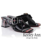 ★2019春夏★Keeley Ann造型透視跟 條紋撞色交叉中跟拖鞋(黑色) -Ann系列