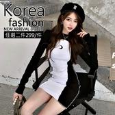 克妹Ke-Mei【AT63441】泫雅辛辣月亮撞色背心洋裝+外套套裝