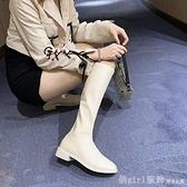 中筒靴 長靴女20冬季新款靴子不過膝長筒靴皮靴中筒騎士靴平底高筒米白色 俏girl