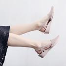 雨鞋 夏季時尚尖頭淺口鏤空防水果凍鞋韓版坡跟包頭軟面塑膠雨鞋沙灘鞋