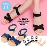 [Here Shoes]涼拖鞋-春夏款輕旅行麻繩面料皮革露趾交叉度假沙灘涼鞋─ADK58-5