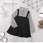 純棉 黑白細格紋吊帶裙假兩件 連身裙 洋裝 氣質 優雅 長袖 女童裝 女洋裝 秋冬洋裝