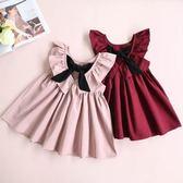 無袖公主裙1-4歲韓版童裝百褶露背裙子