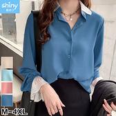 【V3038】shiny藍格子-俏甜洋溢.蕾絲拼雪紡長袖襯衫上衣