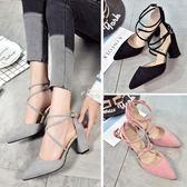 尖頭淺口中跟鞋子少女新款韓版百搭單鞋女粗跟綁帶高跟鞋 俏腳丫