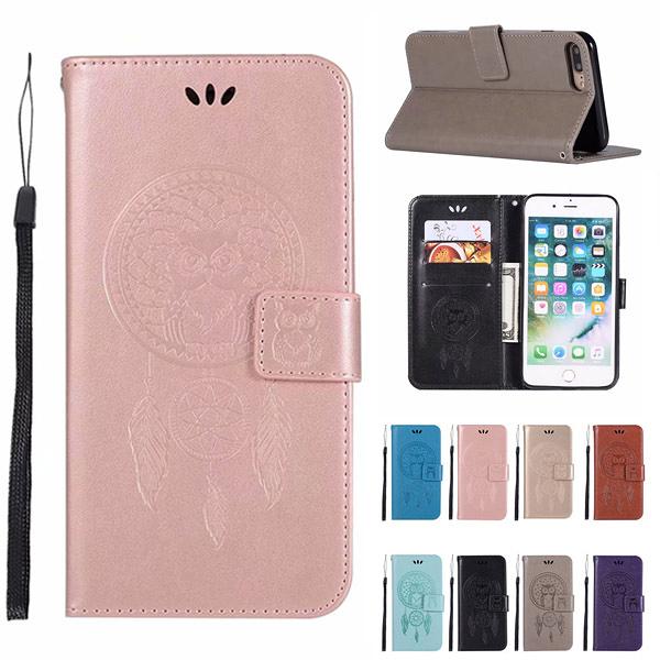 蘋果 iPhoneX i8 Plus i7 i6s 手機皮套 貓頭鷹風鈴 插卡 支架 磁扣 可掛繩 防摔 內軟殼 壓紋皮套 手機殼