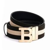 【BALLY】B-BUCKLE 4CM織帶腰帶(黑/白) 620764