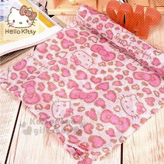 〔小禮堂韓國館〕Hello Kitty 澡巾《白.大臉.愛心豹紋》 8805830-08730