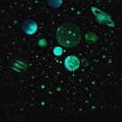 夜光宇宙太空太陽系銀河系幼兒園裝飾貼畫熒光星星月亮星座牆貼紙 樂活生活館