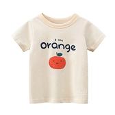 俏皮水果圖案短袖上衣 杏色 童裝 短袖上衣