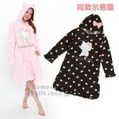 〔小禮堂〕Hello Kitty 造型絨毛連帽長袖居家連身裙 《黑.愛心.荷葉邊》休閒服.睡衣 4560419-61058