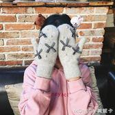 韓版復古蝴蝶結珍珠針織手套秋冬女純色加厚保暖包指連指手套學生 莫妮卡小屋