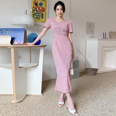 OL洋裝S-XL3280#夏季長款格子裙新款氣質方領優雅系帶荷葉邊開叉連身裙NA07快時尚