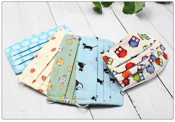 棉布口罩 動物系列2 兒童專用 3層縫製 100%純棉進口布料 可重複使用 純手工製作