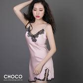 高雅柔棉‧典雅緞面抽縐性感連身睡衣+睡袍(粉色) M~XL  Choco Shop
