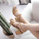 粗跟涼鞋 【32~43碼】 新款粗跟涼鞋女磨砂百搭高跟鞋 - 古梵希
