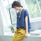 【慢。生活】假兩件薄款皺面上衣-F 7223-6 FREE藍色